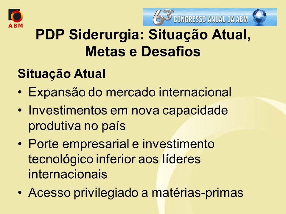 PDP Siderurgia: Situação Atual, Metas e Desafios