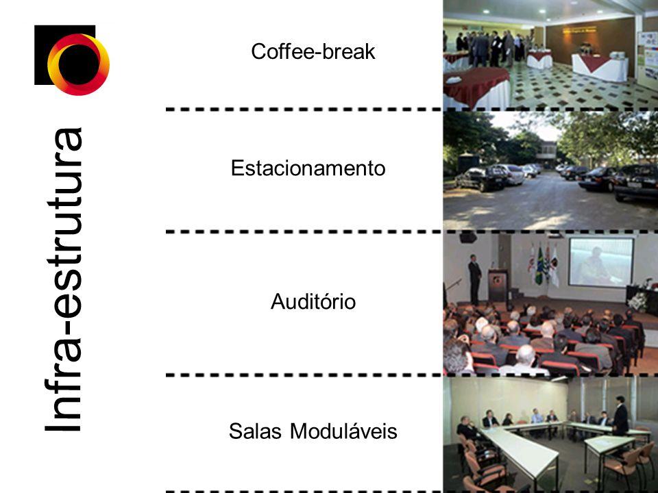 Coffee-break Estacionamento Infra-estrutura Auditório Salas Moduláveis