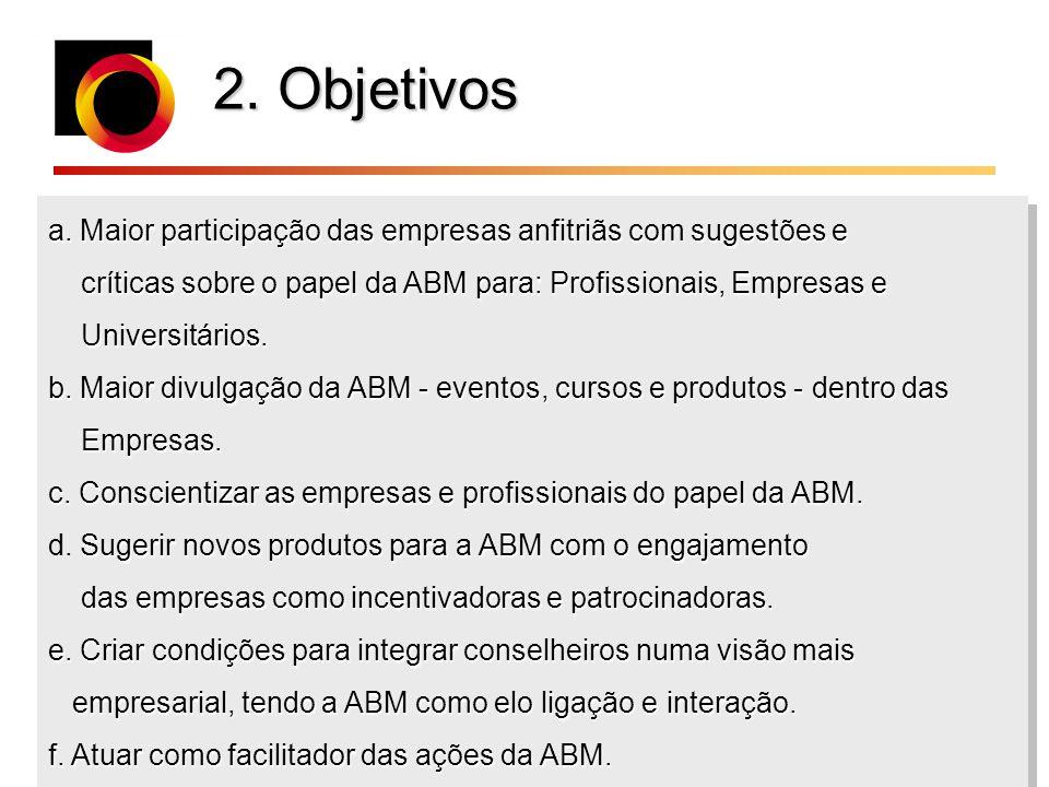 2. Objetivos a. Maior participação das empresas anfitriãs com sugestões e. críticas sobre o papel da ABM para: Profissionais, Empresas e.
