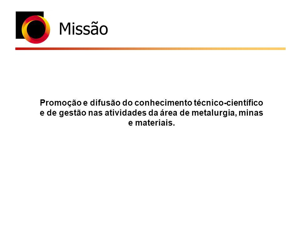 Missão Promoção e difusão do conhecimento técnico-científico e de gestão nas atividades da área de metalurgia, minas e materiais.