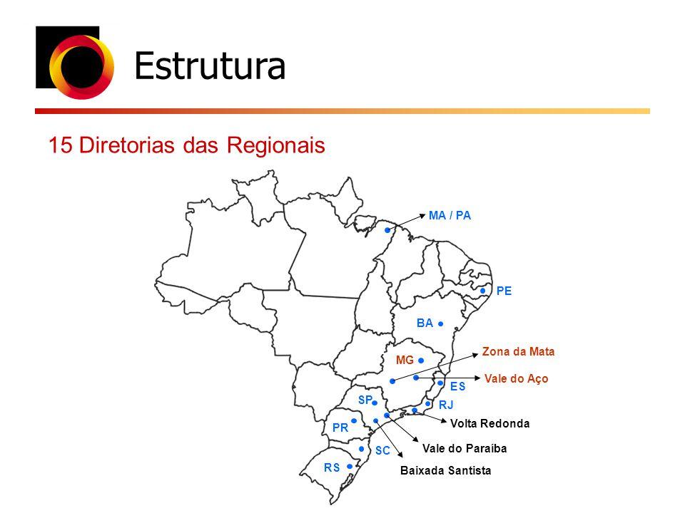Estrutura 15 Diretorias das Regionais MA / PA PE BA Zona da Mata MG