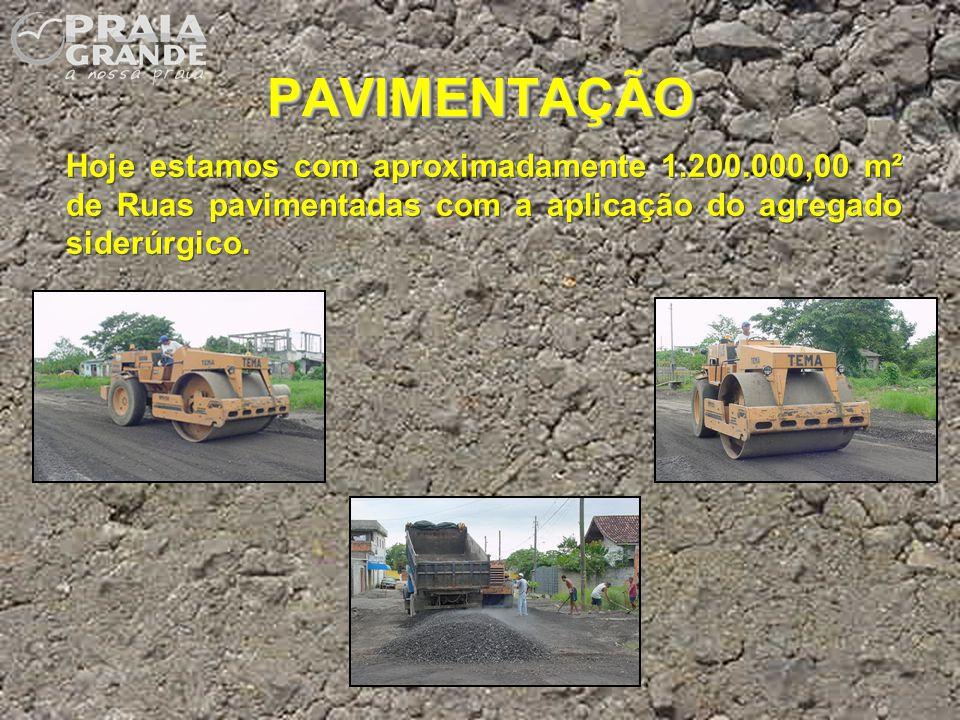 PAVIMENTAÇÃO Hoje estamos com aproximadamente 1.200.000,00 m² de Ruas pavimentadas com a aplicação do agregado siderúrgico.