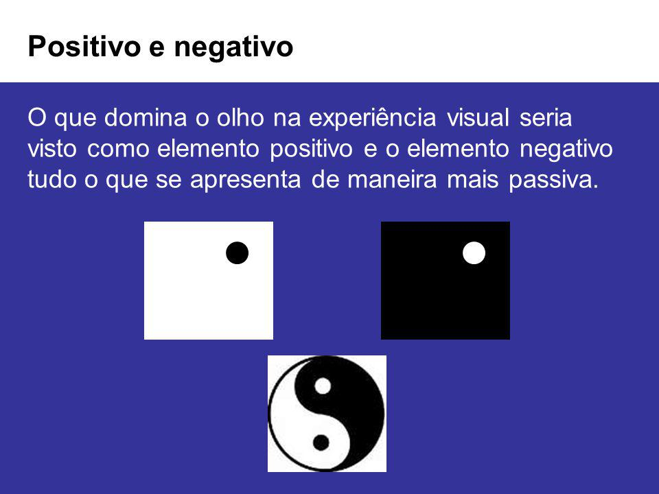 Positivo e negativo O que domina o olho na experiência visual seria