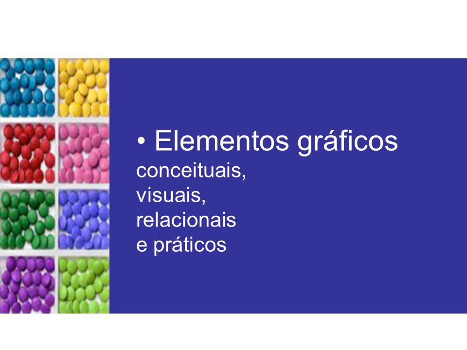 Elementos gráficos conceituais, visuais, relacionais e práticos