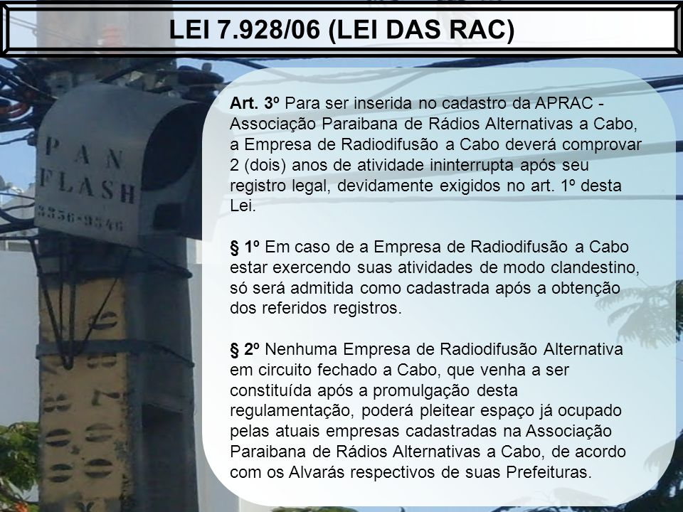 LEI 7.928/06 (LEI DAS RAC)
