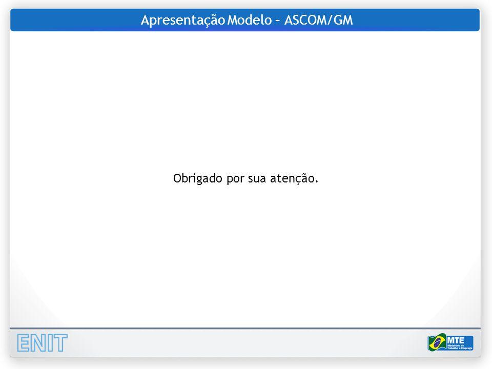Apresentação Modelo – ASCOM/GM