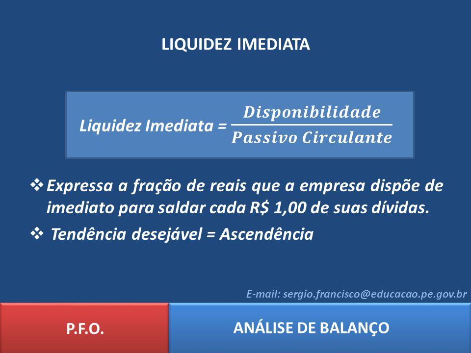 Liquidez Imediata = 𝑫𝒊𝒔𝒑𝒐𝒏𝒊𝒃𝒊𝒍𝒊𝒅𝒂𝒅𝒆 𝑷𝒂𝒔𝒔𝒊𝒗𝒐 𝑪𝒊𝒓𝒄𝒖𝒍𝒂𝒏𝒕𝒆