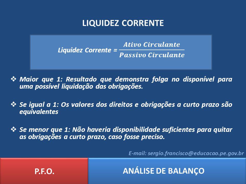 Liquidez Corrente = 𝑨𝒕𝒊𝒗𝒐 𝑪𝒊𝒓𝒄𝒖𝒍𝒂𝒏𝒕𝒆 𝑷𝒂𝒔𝒔𝒊𝒗𝒐 𝑪𝒊𝒓𝒄𝒖𝒍𝒂𝒏𝒕𝒆