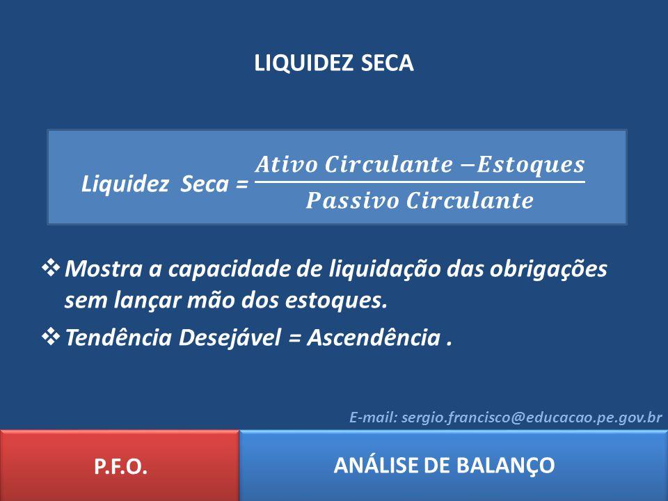 Liquidez Seca = 𝑨𝒕𝒊𝒗𝒐 𝑪𝒊𝒓𝒄𝒖𝒍𝒂𝒏𝒕𝒆 −𝑬𝒔𝒕𝒐𝒒𝒖𝒆𝒔 𝑷𝒂𝒔𝒔𝒊𝒗𝒐 𝑪𝒊𝒓𝒄𝒖𝒍𝒂𝒏𝒕𝒆