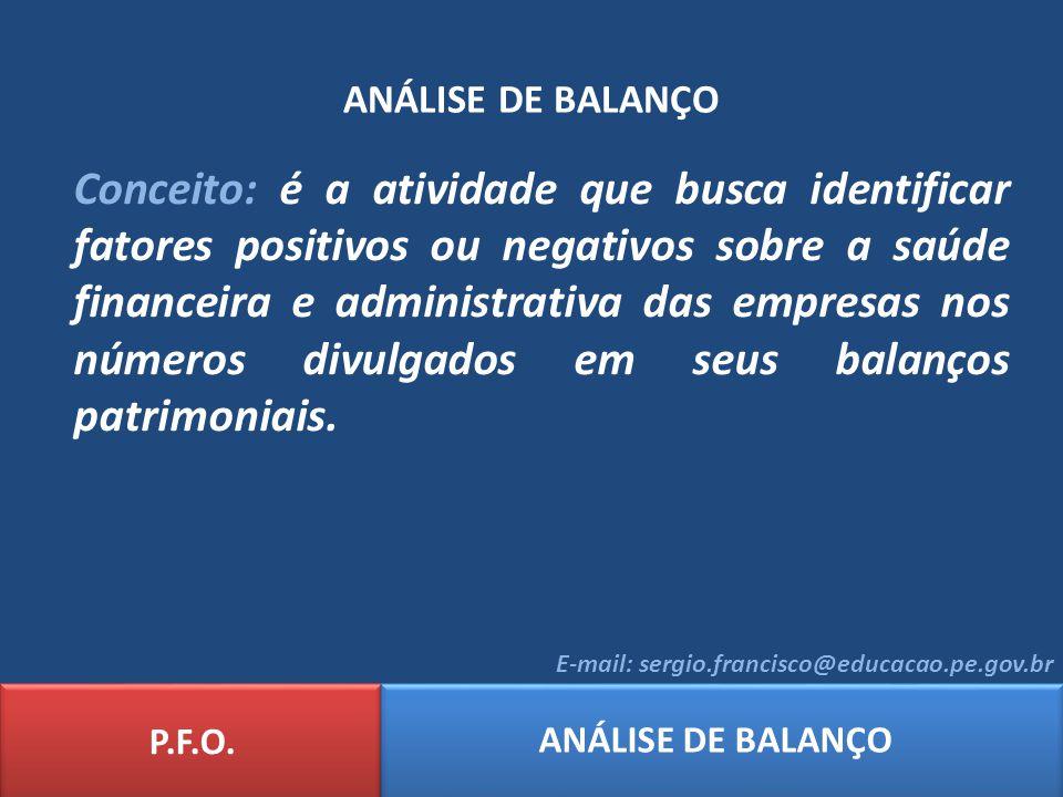 ANÁLISE DE BALANÇO