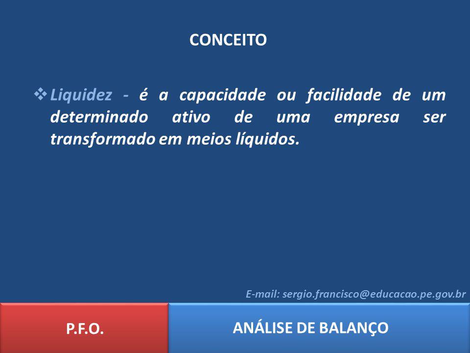 CONCEITO Liquidez - é a capacidade ou facilidade de um determinado ativo de uma empresa ser transformado em meios líquidos.