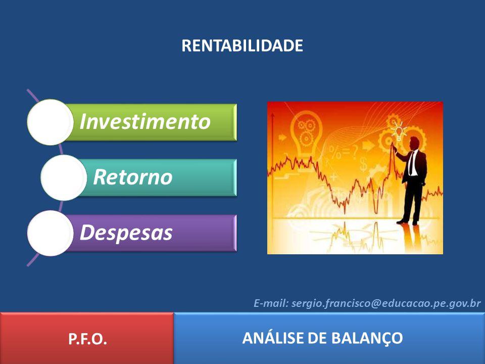 Investimento Retorno Despesas RENTABILIDADE P.F.O. ANÁLISE DE BALANÇO