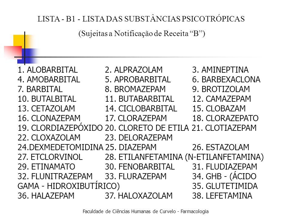 LISTA - B1 - LISTA DAS SUBSTÂNCIAS PSICOTRÓPICAS