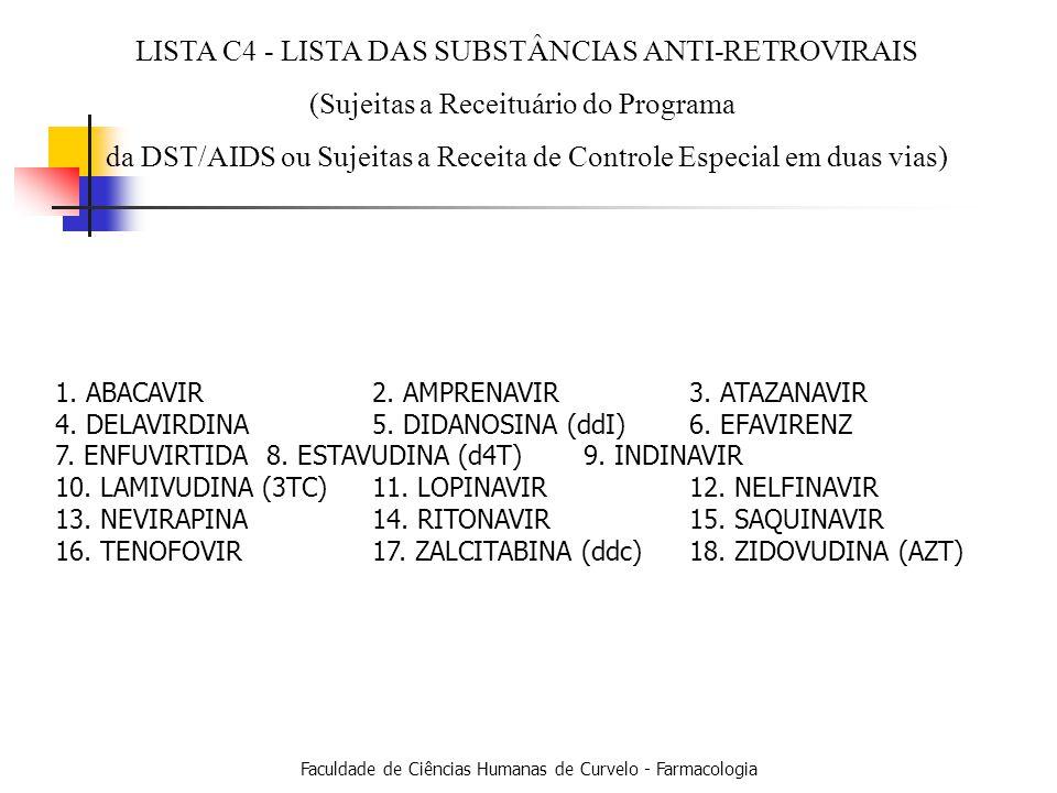LISTA C4 - LISTA DAS SUBSTÂNCIAS ANTI-RETROVIRAIS