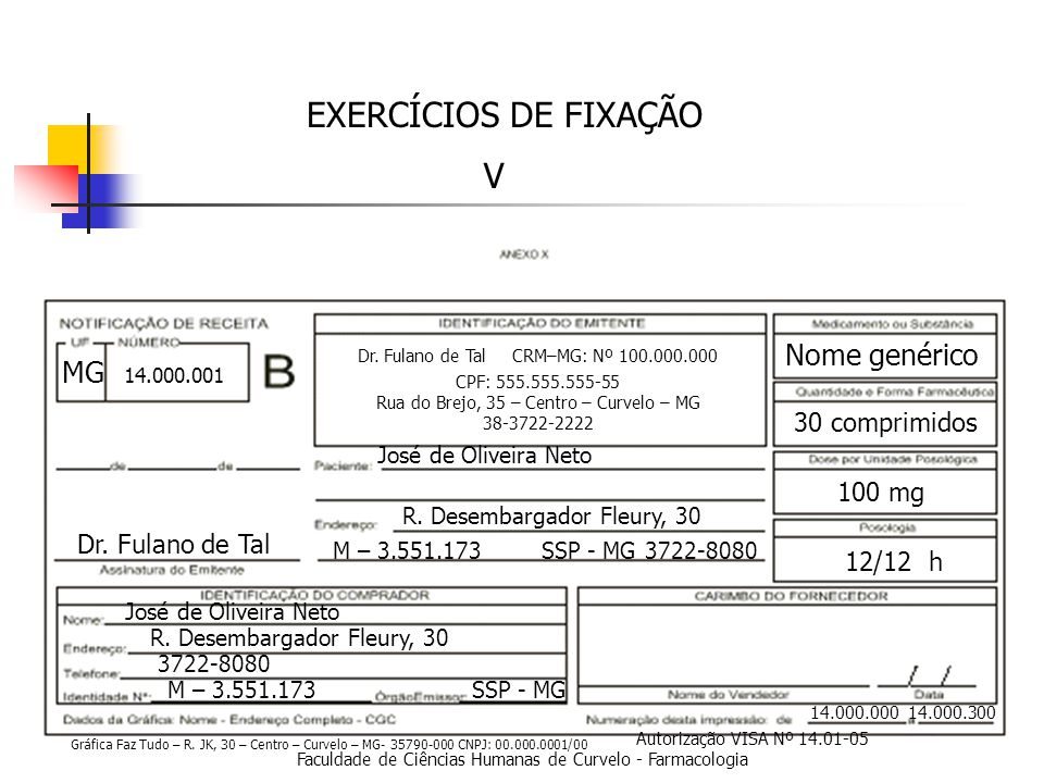 EXERCÍCIOS DE FIXAÇÃO V Nome genérico MG 30 comprimidos 100 mg