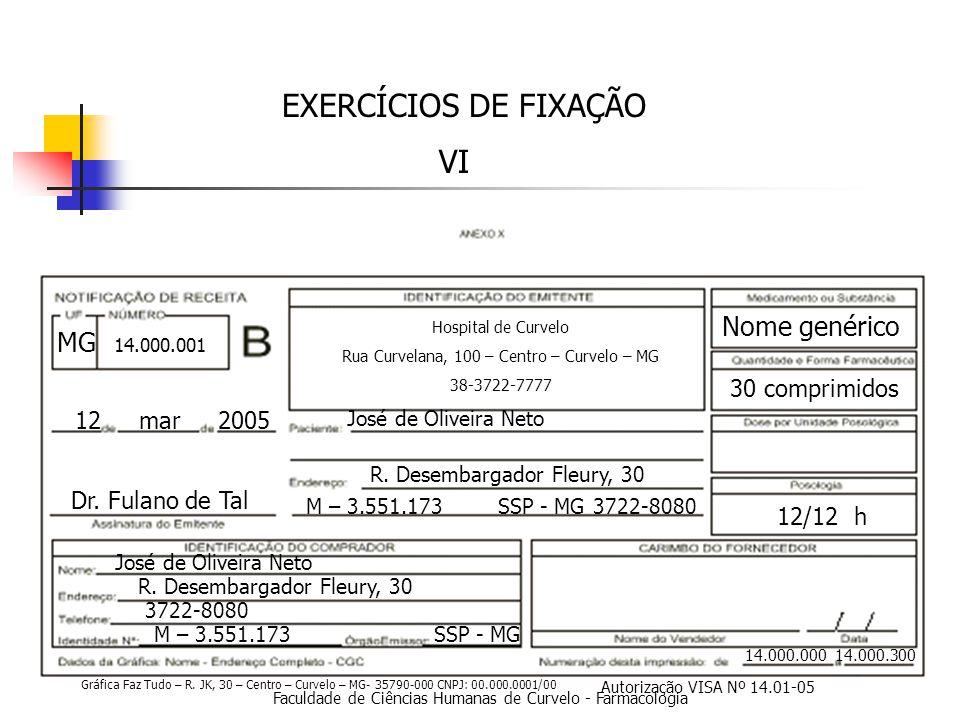 EXERCÍCIOS DE FIXAÇÃO VI Nome genérico MG 30 comprimidos 12 mar 2005