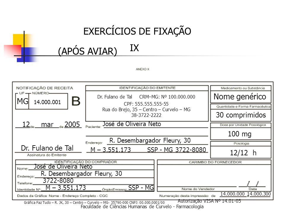 EXERCÍCIOS DE FIXAÇÃO IX (APÓS AVIAR) Nome genérico MG 30 comprimidos