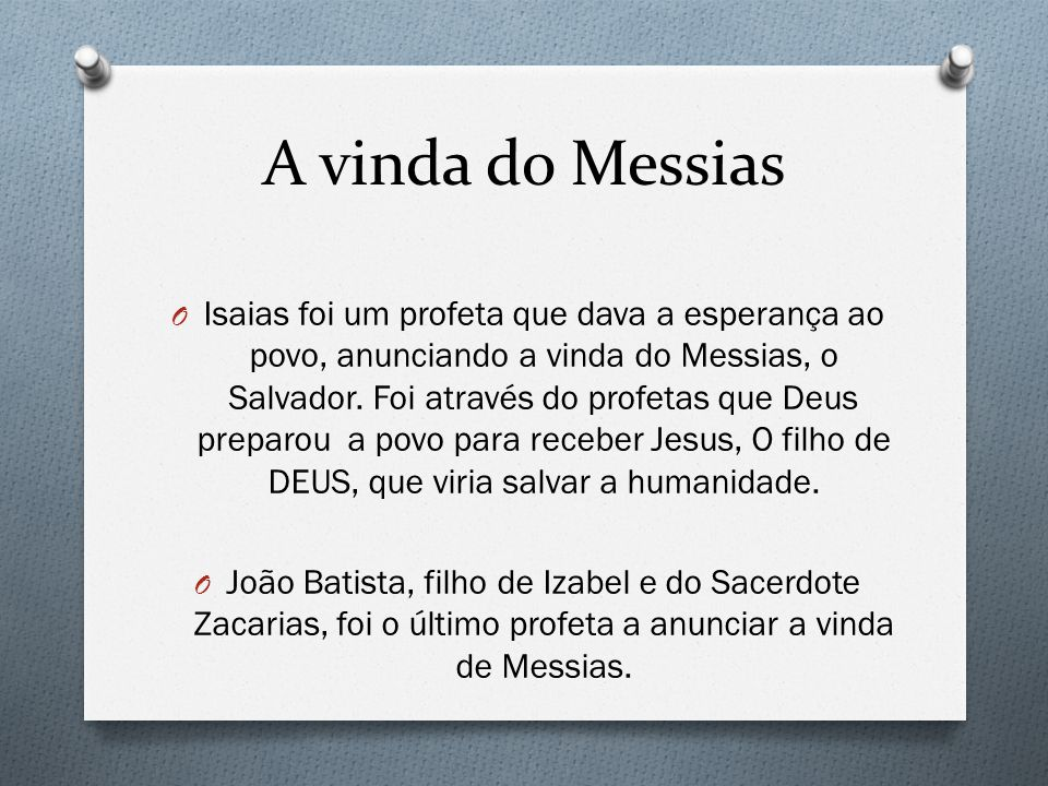 A vinda do Messias