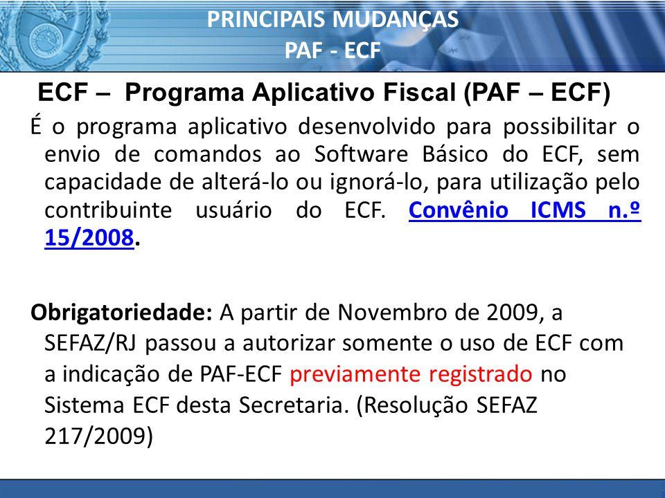 PRINCIPAIS MUDANÇAS PAF - ECF