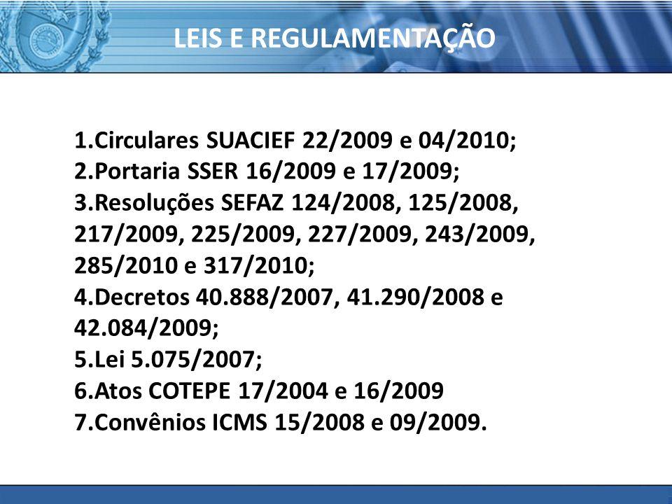 LEIS E REGULAMENTAÇÃO Circulares SUACIEF 22/2009 e 04/2010;