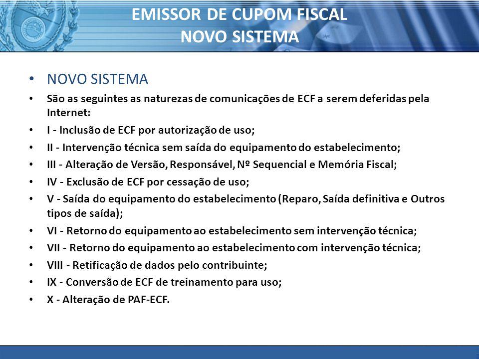 EMISSOR DE CUPOM FISCAL NOVO SISTEMA