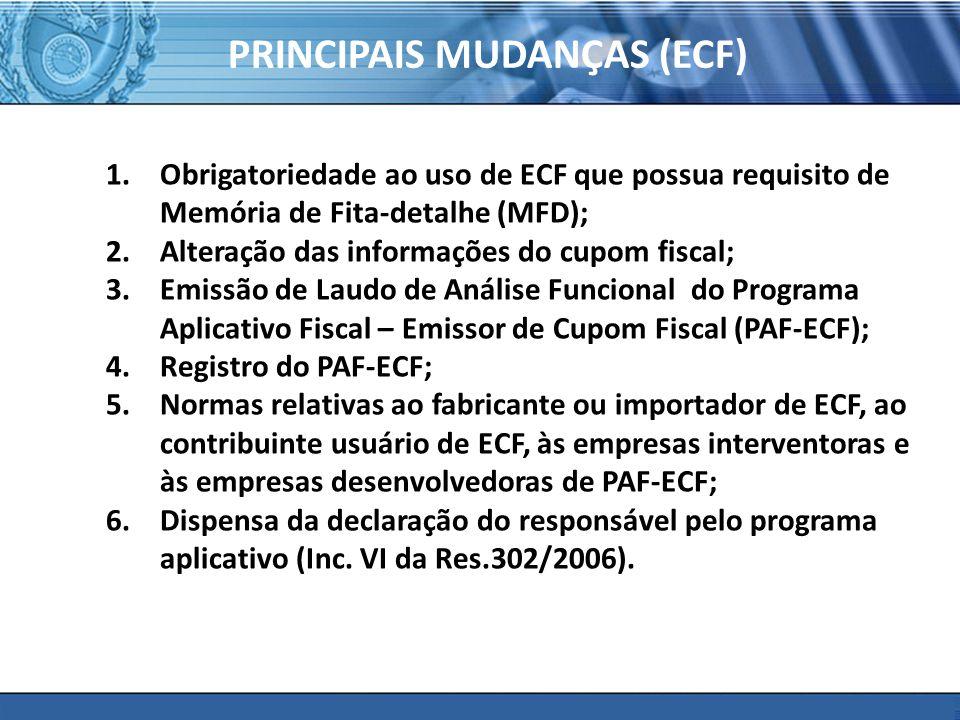 PRINCIPAIS MUDANÇAS (ECF)