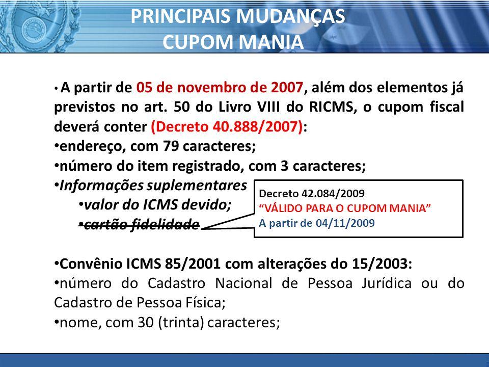 PRINCIPAIS MUDANÇAS CUPOM MANIA