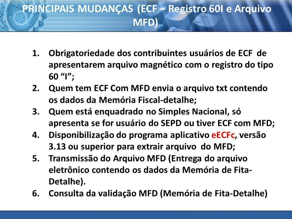 PRINCIPAIS MUDANÇAS (ECF – Registro 60I e Arquivo MFD)
