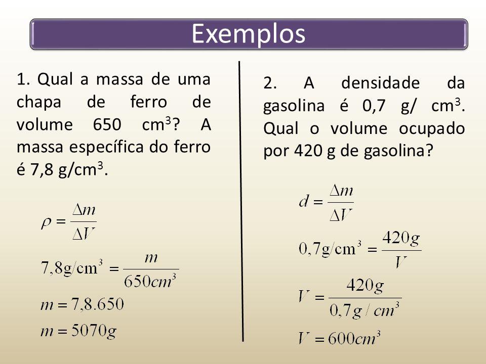 Exemplos 1. Qual a massa de uma chapa de ferro de volume 650 cm3 A massa específica do ferro é 7,8 g/cm3.