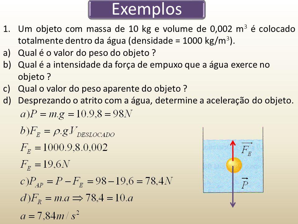 Exemplos Um objeto com massa de 10 kg e volume de 0,002 m3 é colocado totalmente dentro da água (densidade = 1000 kg/m3).