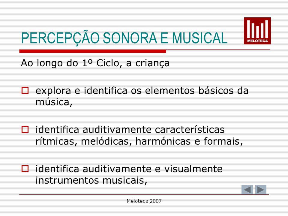 PERCEPÇÃO SONORA E MUSICAL