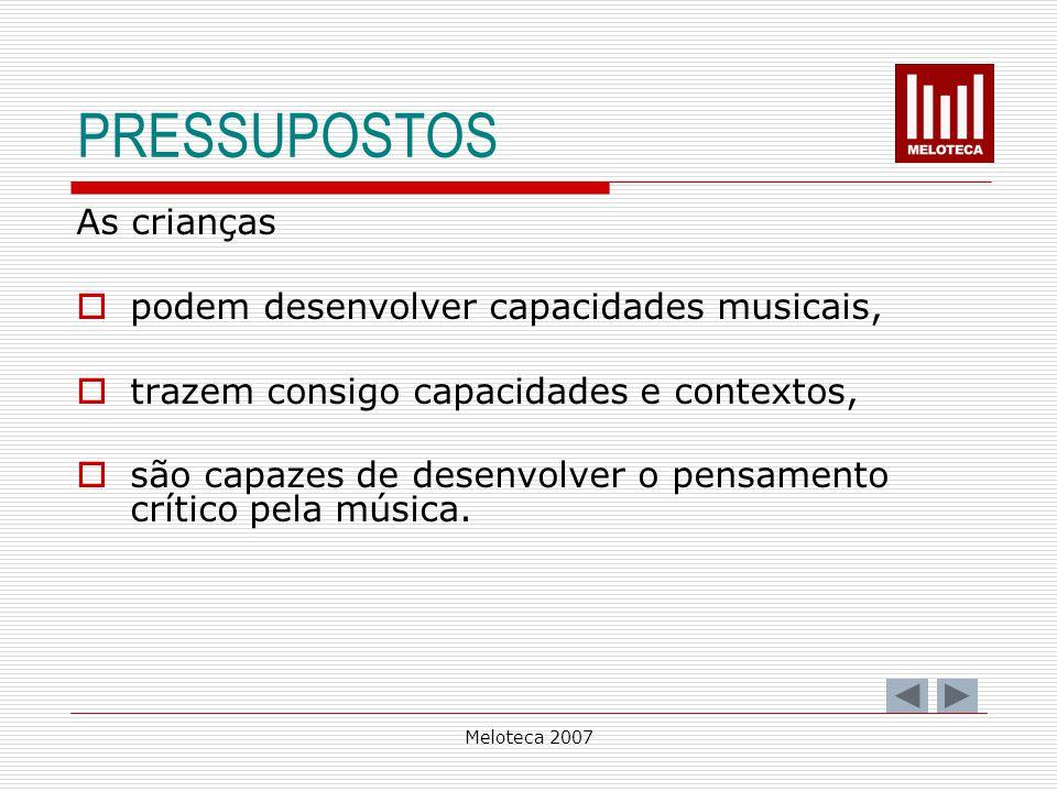 PRESSUPOSTOS As crianças podem desenvolver capacidades musicais,