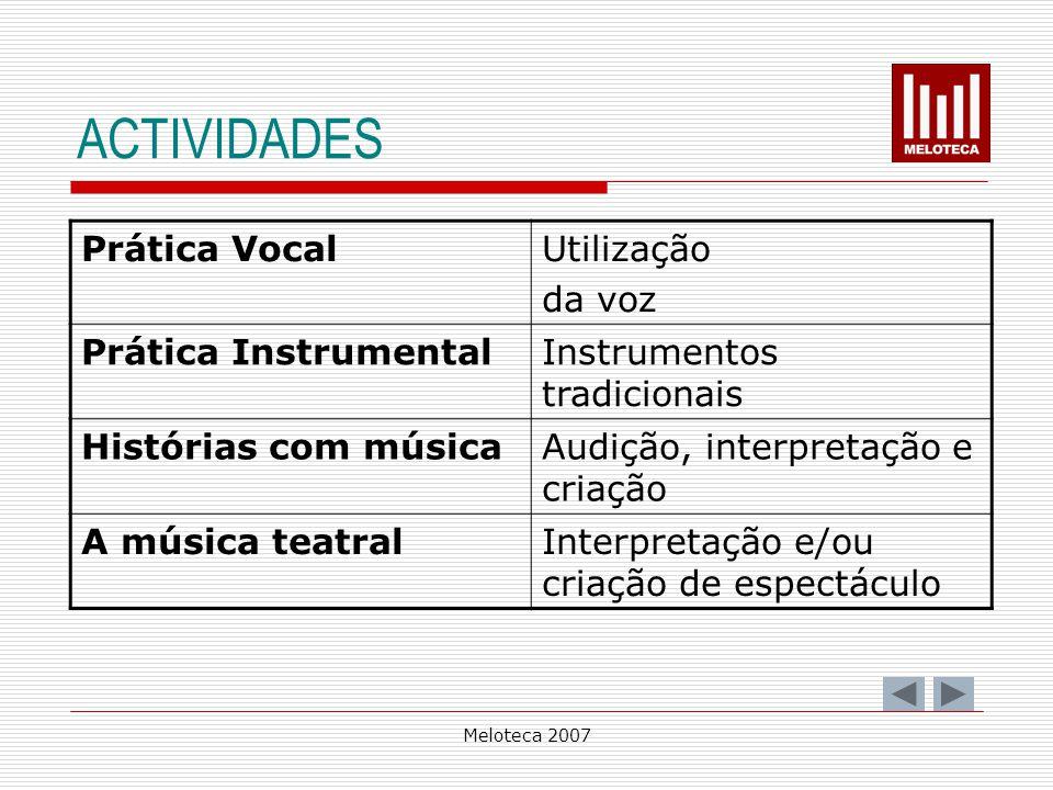ACTIVIDADES Prática Vocal Utilização da voz Prática Instrumental