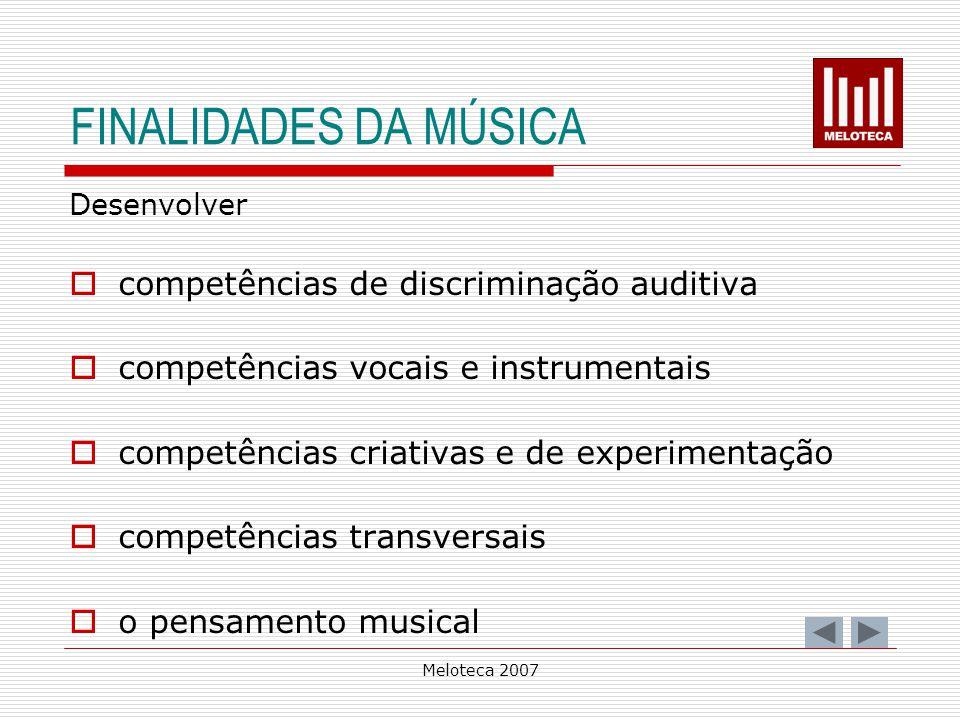FINALIDADES DA MÚSICA competências de discriminação auditiva