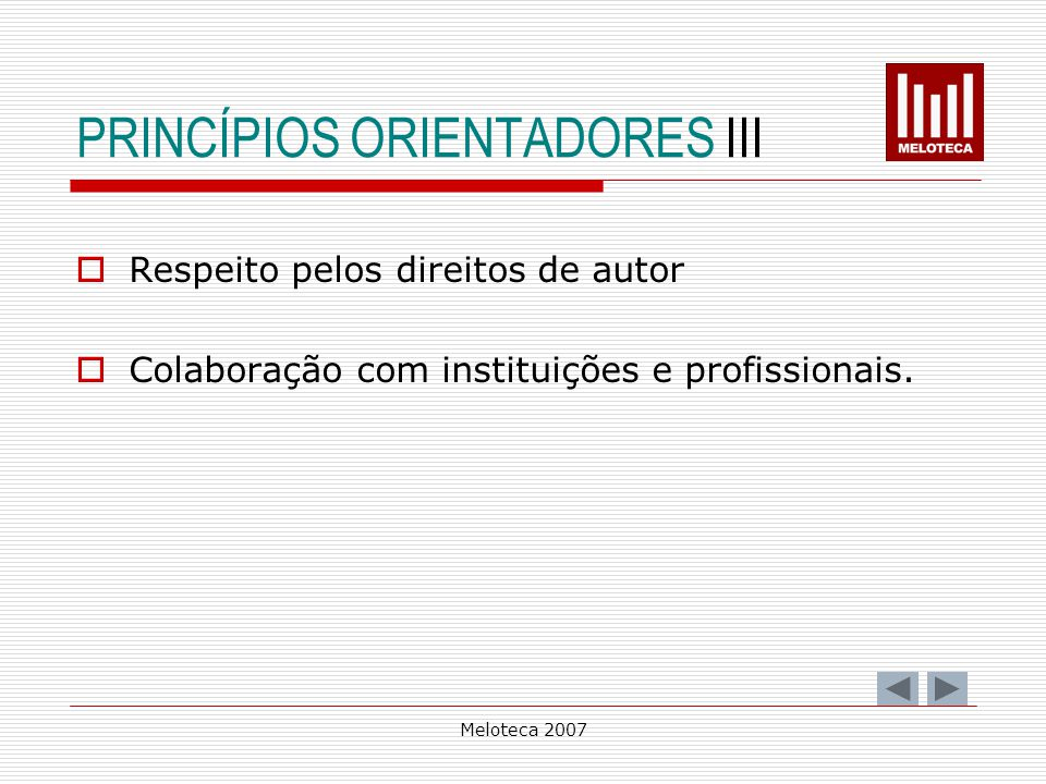 PRINCÍPIOS ORIENTADORES III