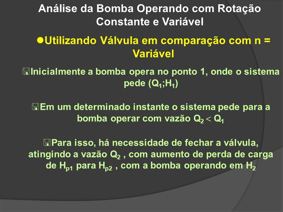 Análise da Bomba Operando com Rotação Constante e Variável