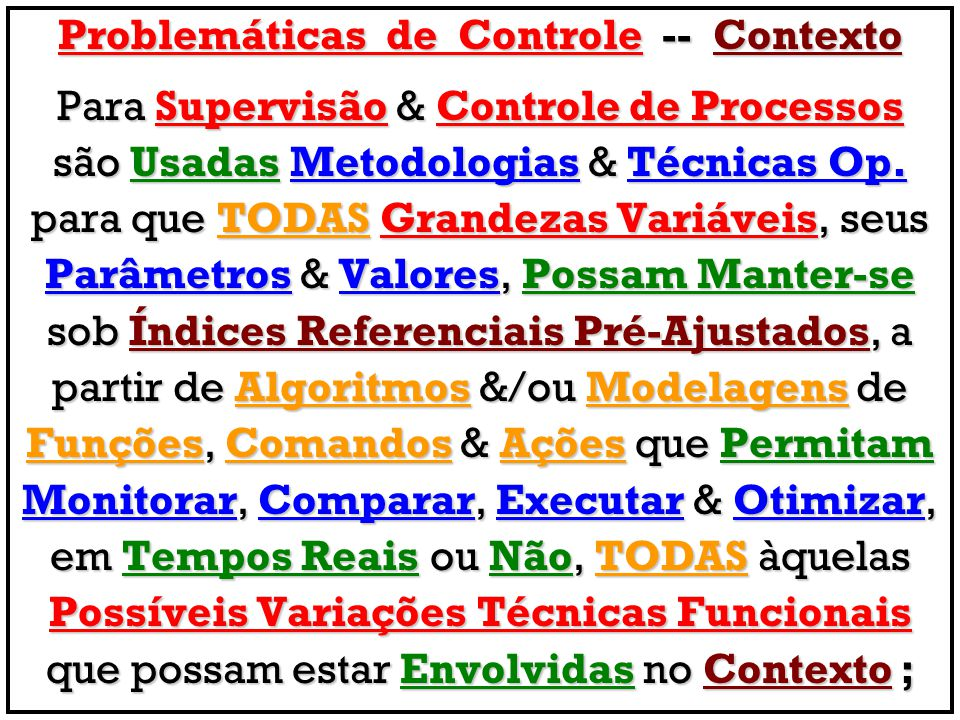 Problemáticas de Controle -- Contexto