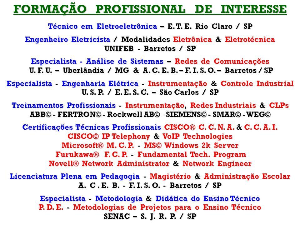 FORMAÇÃO PROFISSIONAL DE INTERESSE