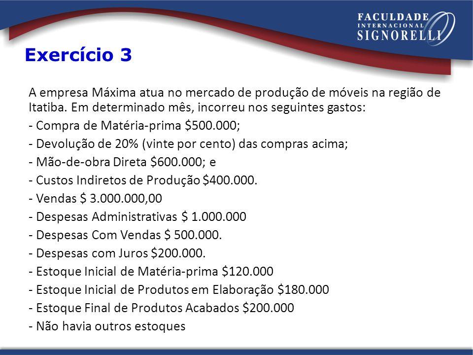 Exercício 3 A empresa Máxima atua no mercado de produção de móveis na região de Itatiba. Em determinado mês, incorreu nos seguintes gastos: