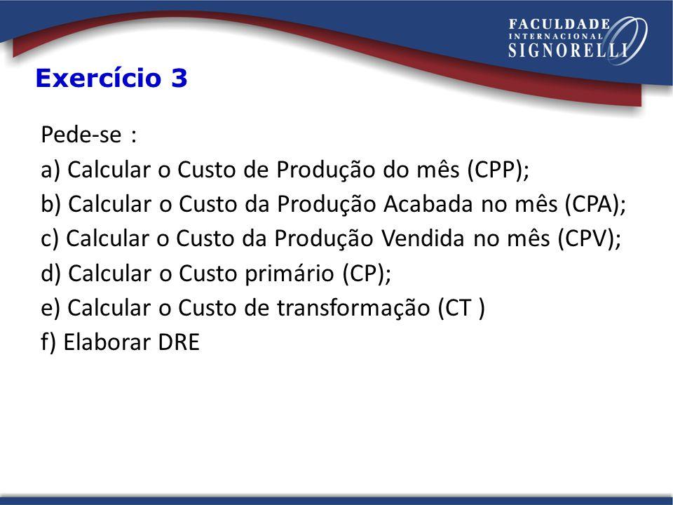 a) Calcular o Custo de Produção do mês (CPP);