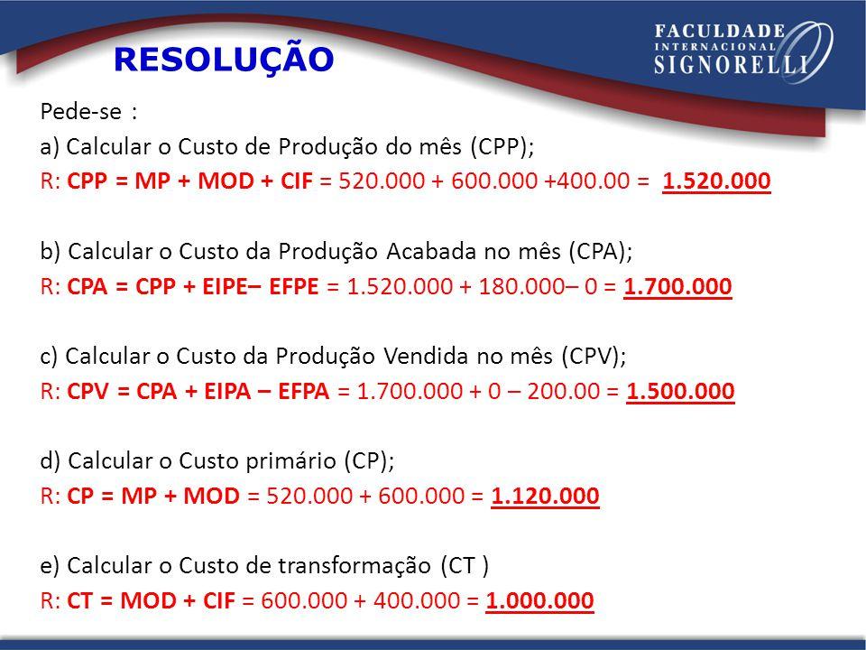 RESOLUÇÃO Pede-se : a) Calcular o Custo de Produção do mês (CPP);