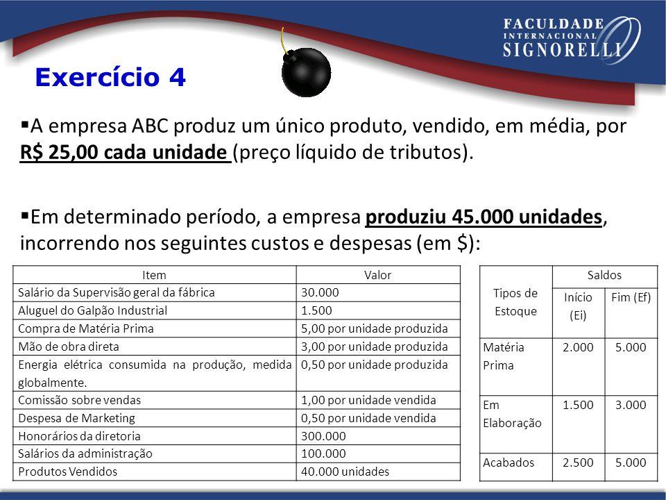 Exercício 4 A empresa ABC produz um único produto, vendido, em média, por R$ 25,00 cada unidade (preço líquido de tributos).
