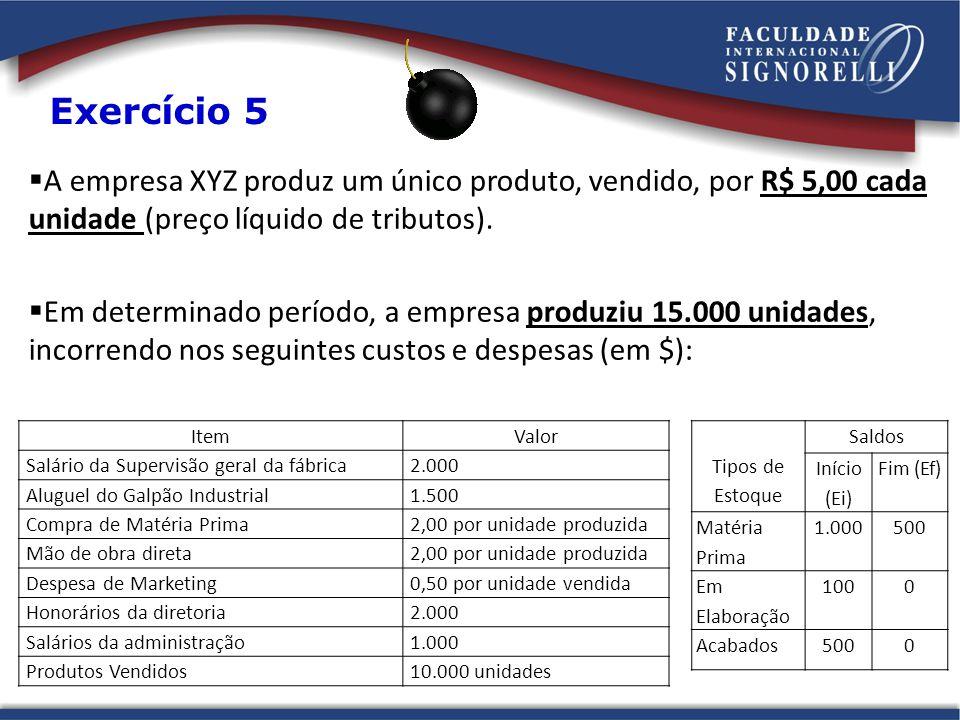 Exercício 5 A empresa XYZ produz um único produto, vendido, por R$ 5,00 cada unidade (preço líquido de tributos).