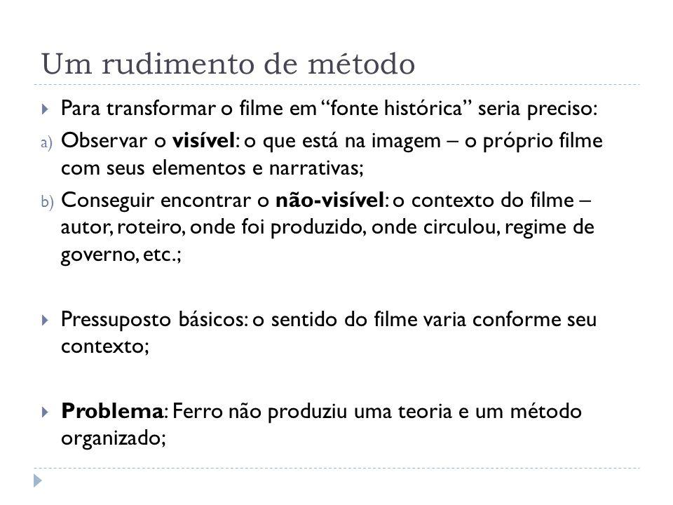 Um rudimento de método Para transformar o filme em fonte histórica seria preciso: