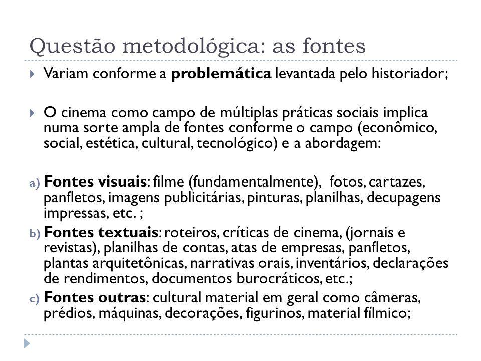 Questão metodológica: as fontes
