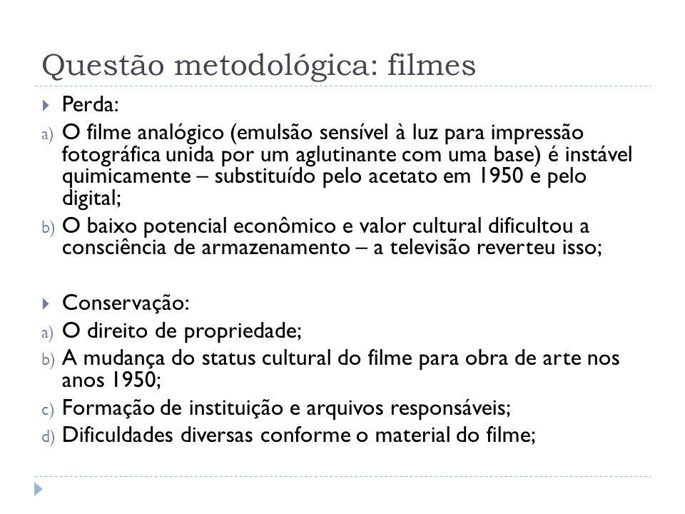 Questão metodológica: filmes