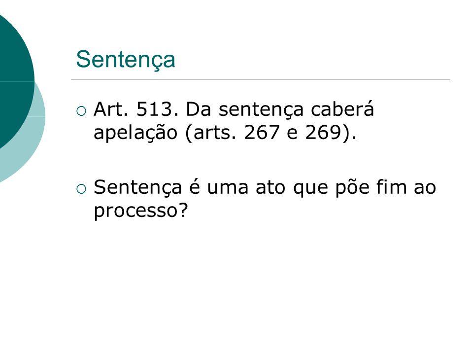 Sentença Art. 513. Da sentença caberá apelação (arts. 267 e 269).