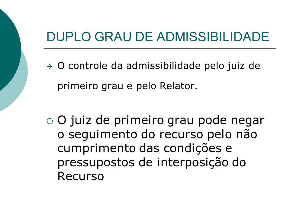 DUPLO GRAU DE ADMISSIBILIDADE
