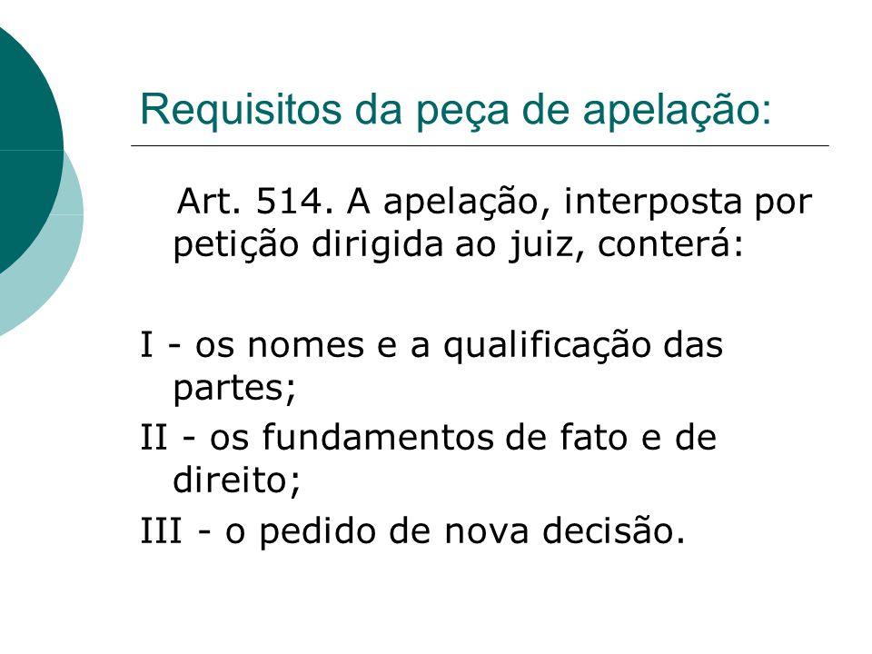 Requisitos da peça de apelação: