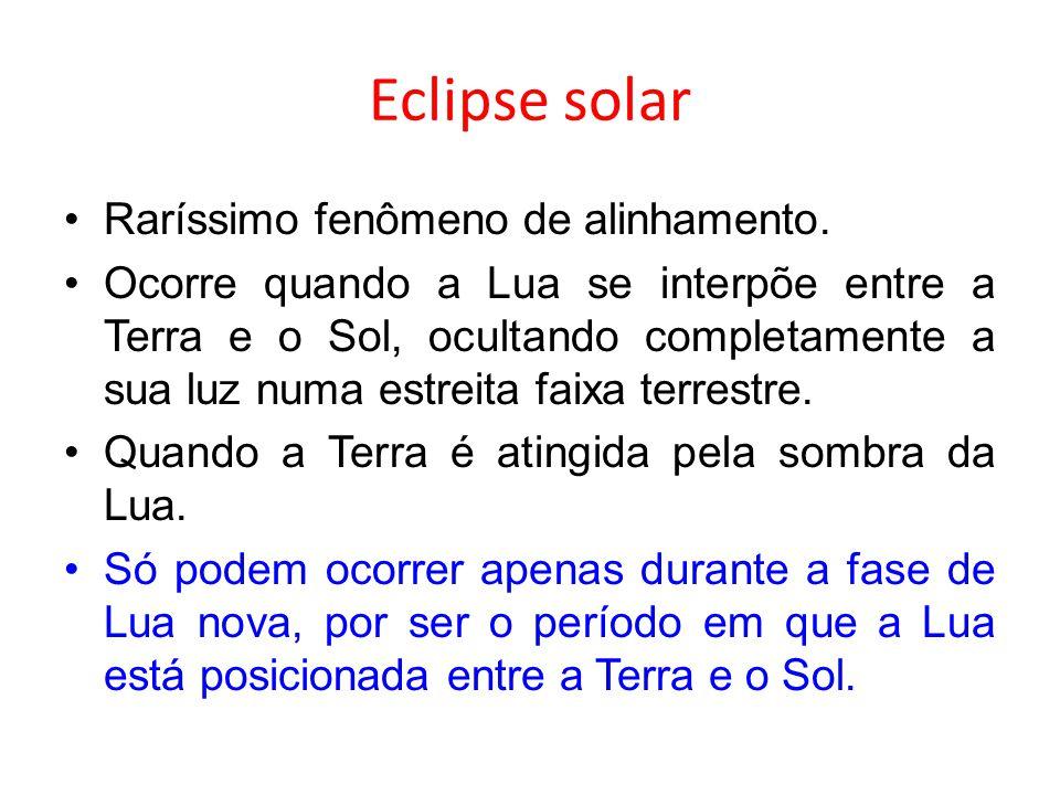 Eclipse solar Raríssimo fenômeno de alinhamento.